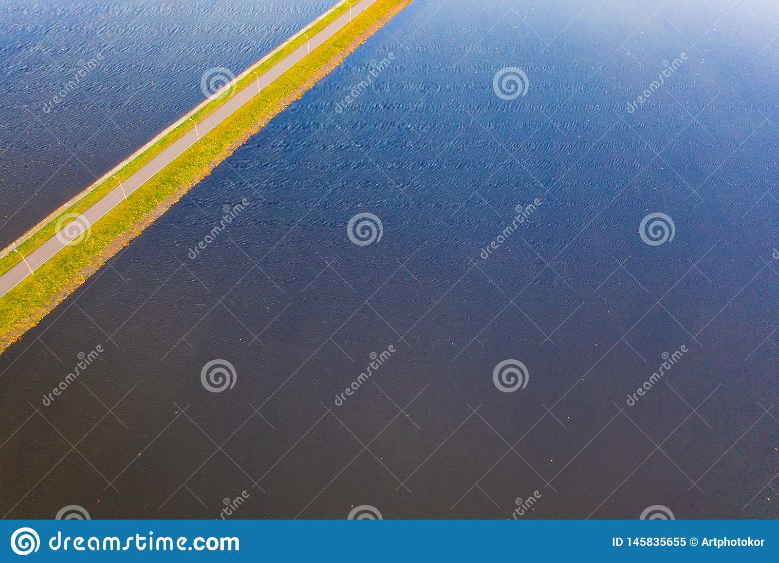 Rippling water surface aerial landscape. Sports concept