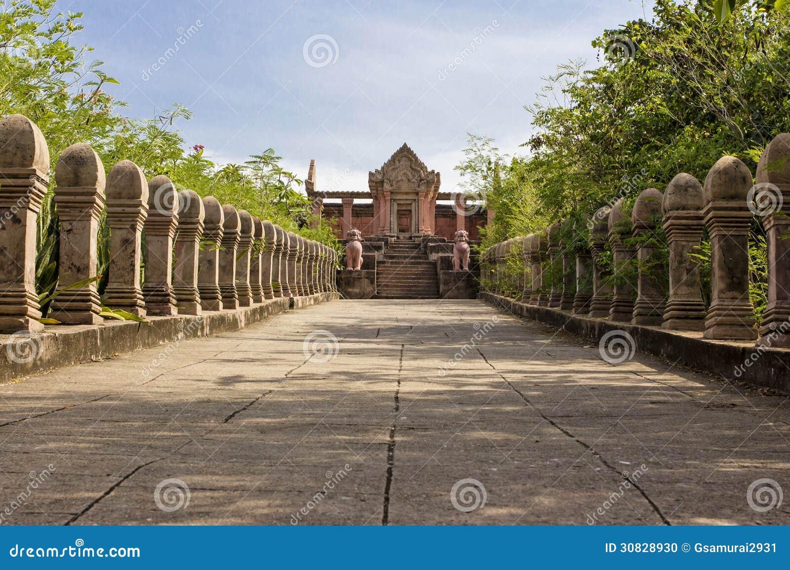 Riproduzione Prasat Phra Wihan alla città antica, Sumutprakarn, Th