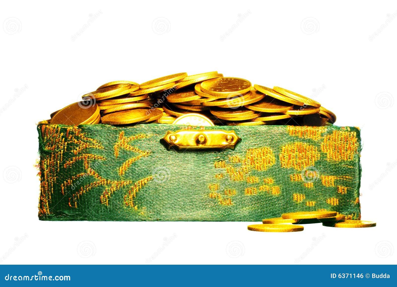 Riquezas, moedas de ouro em uma caixa