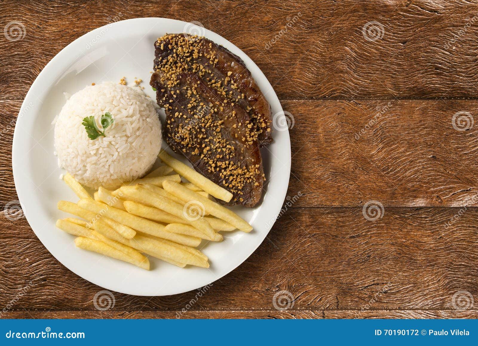 Ris med potatisar och kött