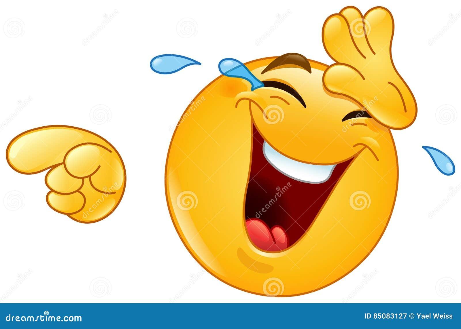 Risa Con Los Rasgones Y Señalar El Emoticon Ilustración Del Vector