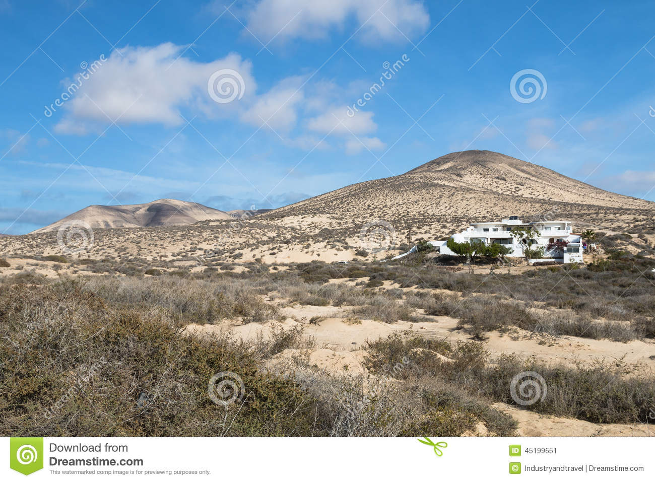 house and mountain landscape in risco el paso fuerteventura