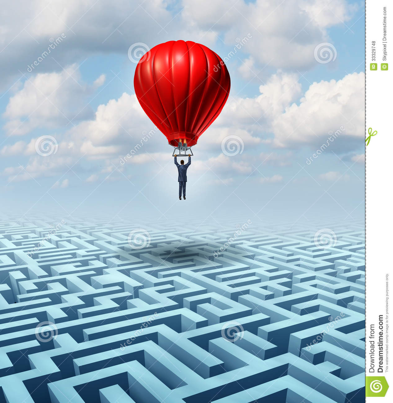 Http Www Dreamstime Com Royalty Free Stock Photos Rise Above Adversity Solution Leadership Businessman Flying Soaring Over Complicated Maze Help Hot Air Image33329748