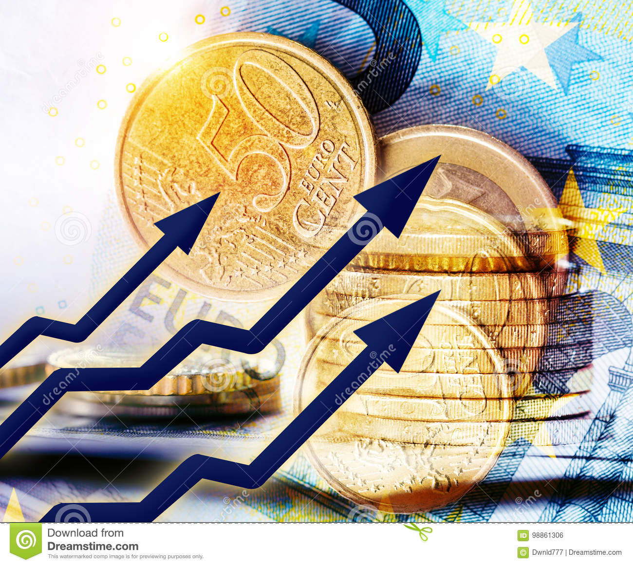 Rising Euro Concept Stock Photo Image Of Euro Business 98861306
