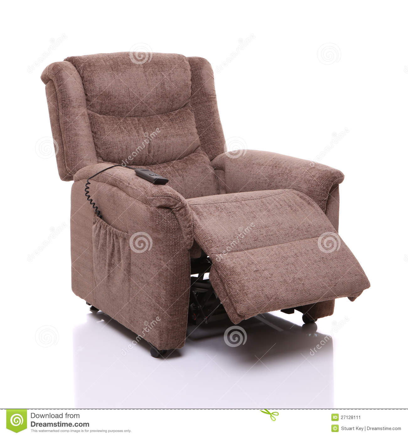 Rise and recline chair, partially reclined. A recliner chair with electric remote  controlled ... - Rise And Recline Chair, Partially Reclined. Stock Image - Image