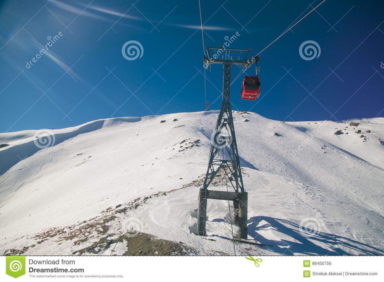 rise to the top in ski resort of gulmarg, india. stock photo - image