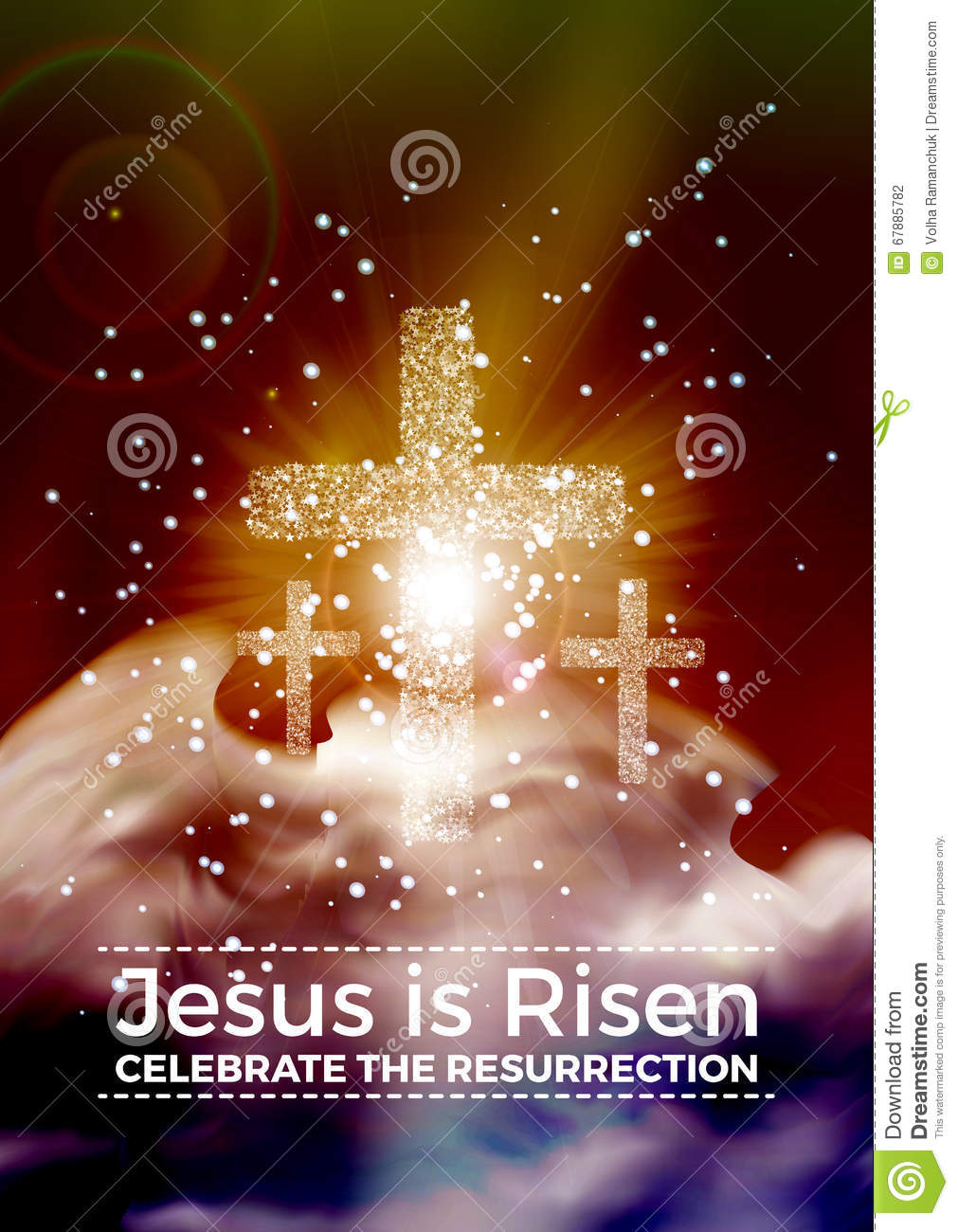 he is risen easter religious poster template with transparency