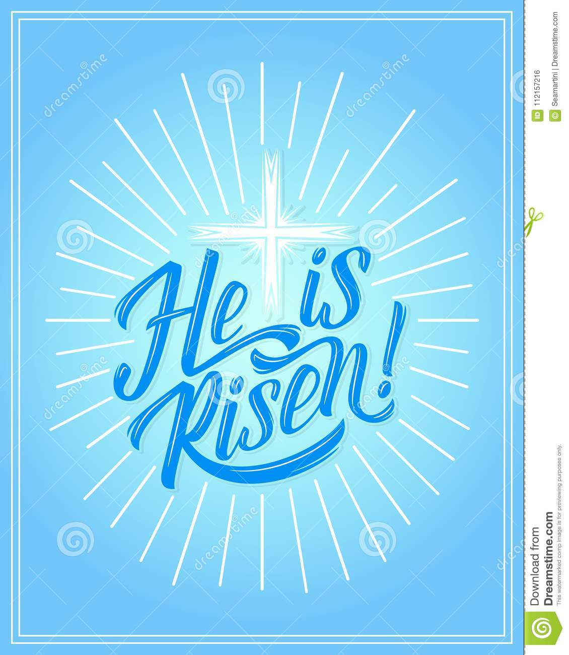 Vector Easter Holiday He Is Risen Greeting Card Stock Vector