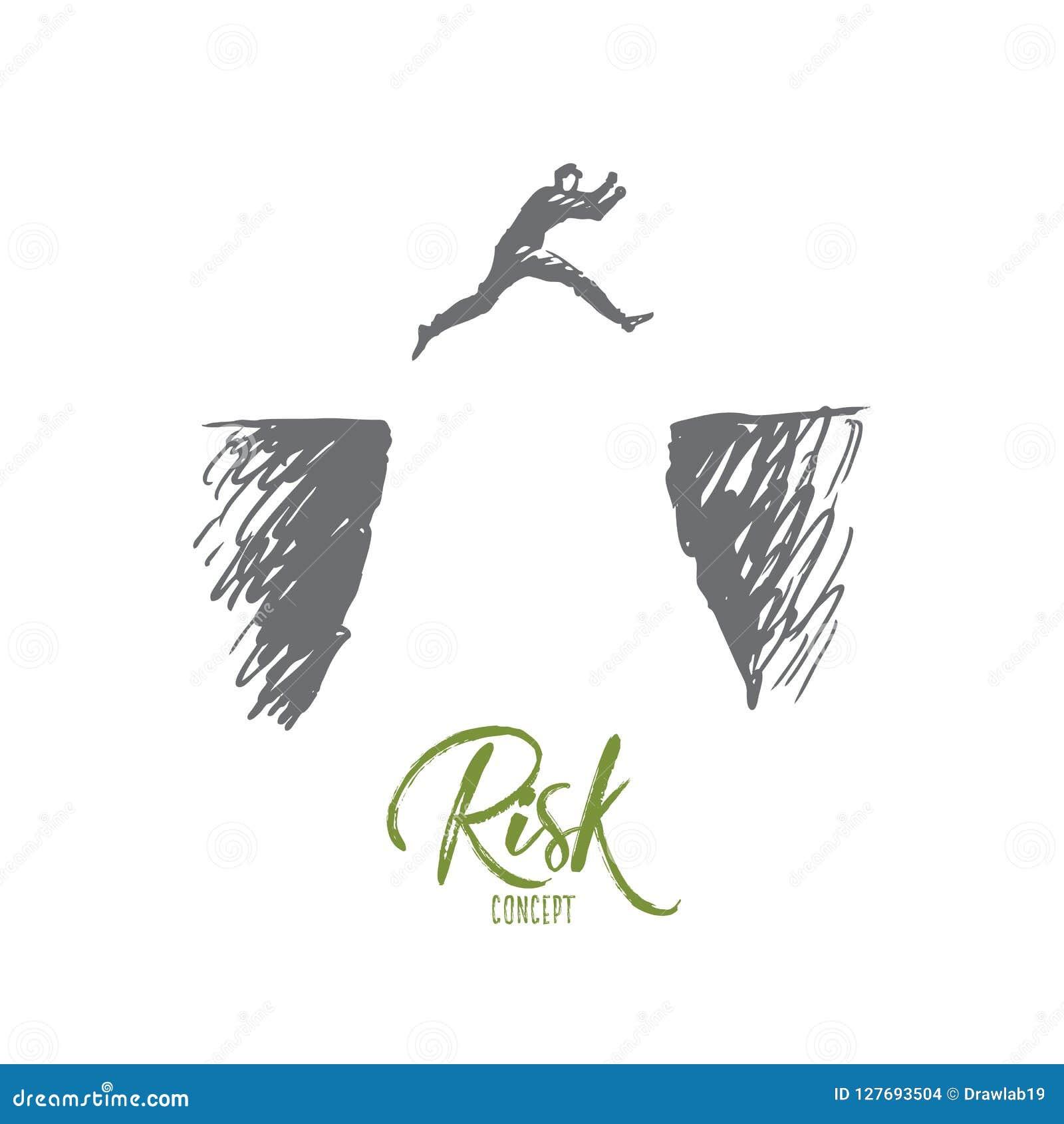 Risiko, Gefahr, Geschäft, Herausforderung, Personenkonzept Hand gezeichneter lokalisierter Vektor