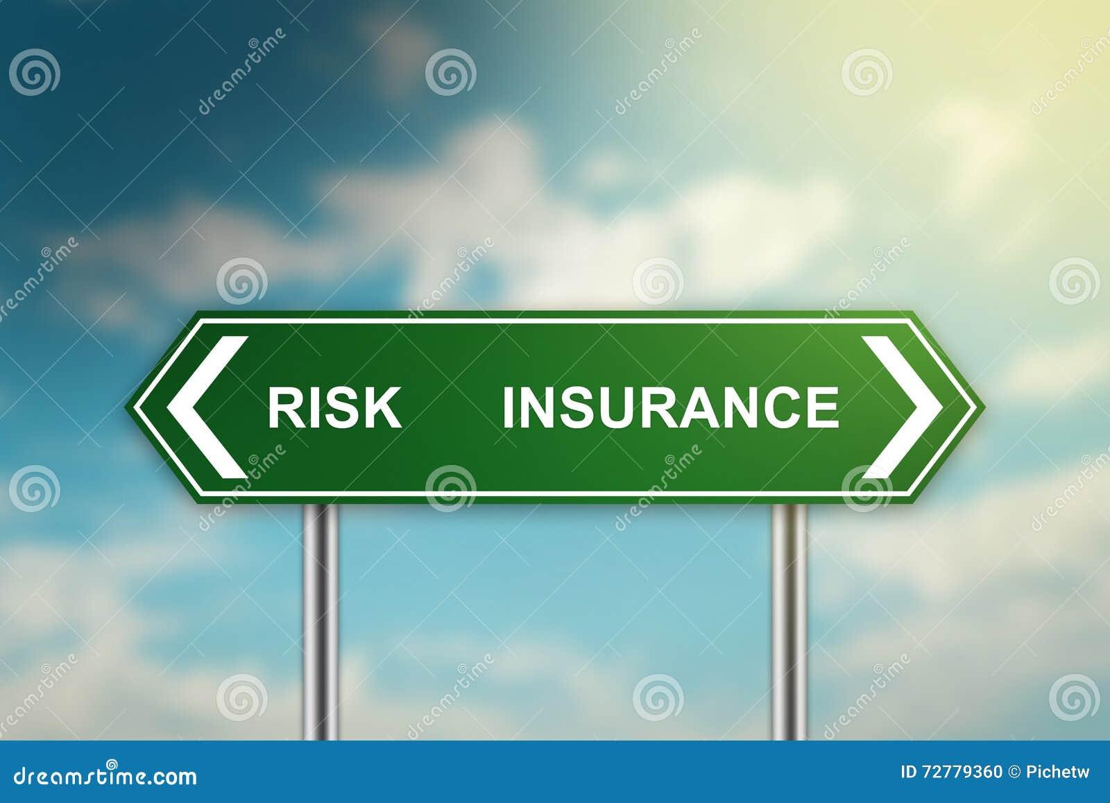 Risiko Und Versicherung Auf Grunem Verkehrsschild Stock Abbildung