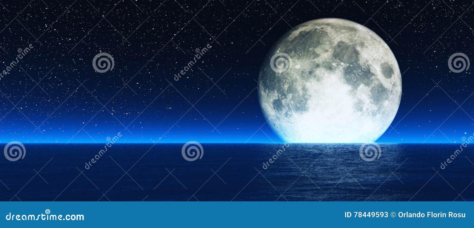 Rising moon over sea  stock image  Image of dark, deep
