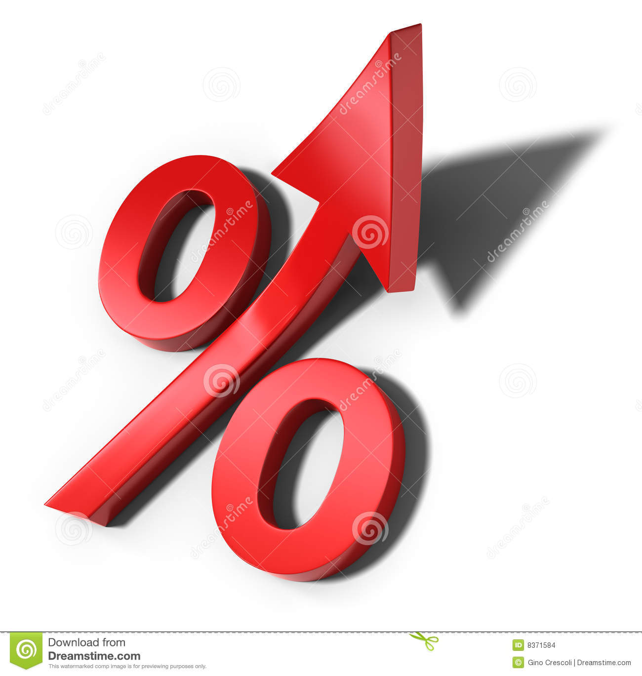 Red percent sign with upward arrow and shadow (3d illustration).