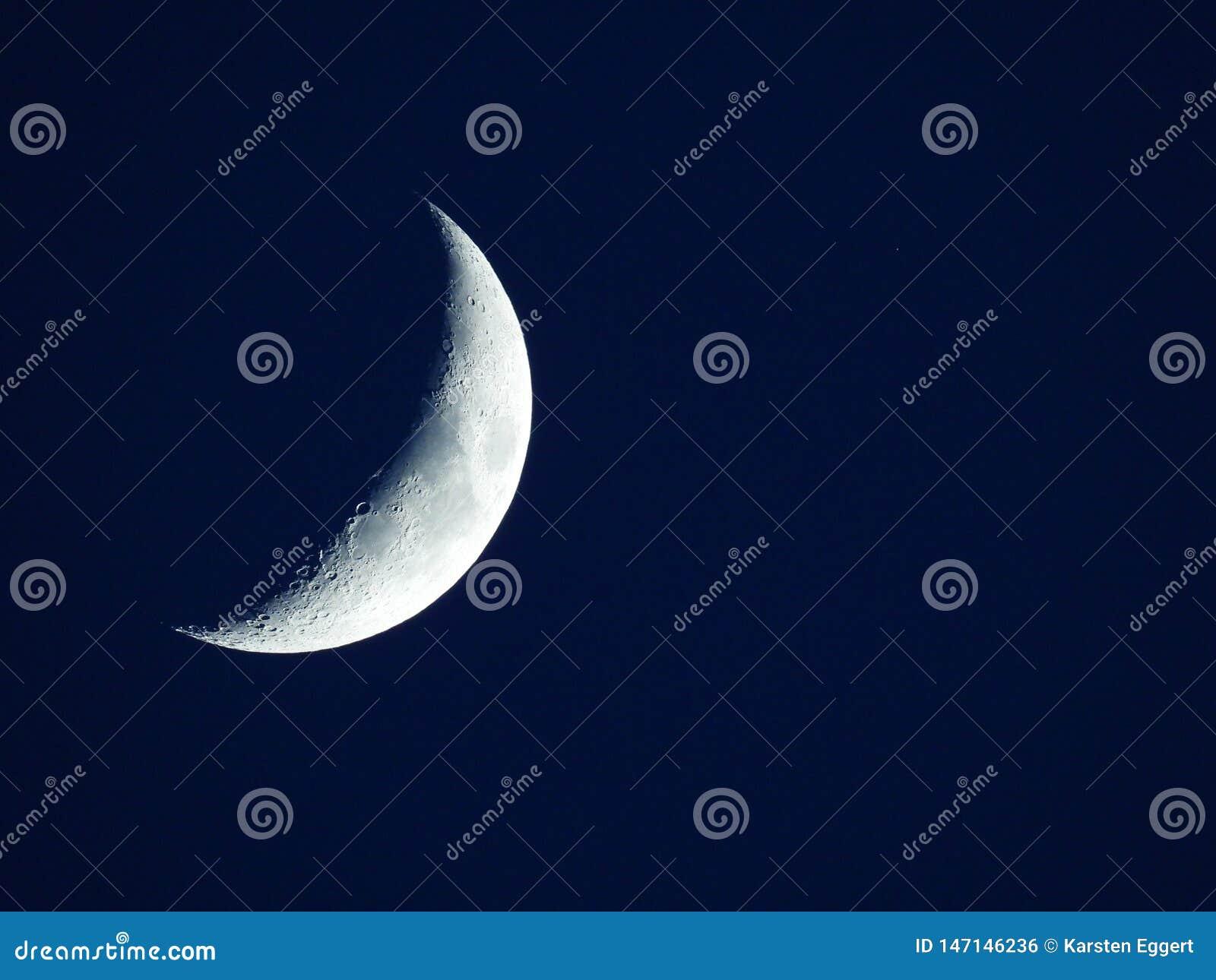 Rising quarter moon in the dark blue evening sky
