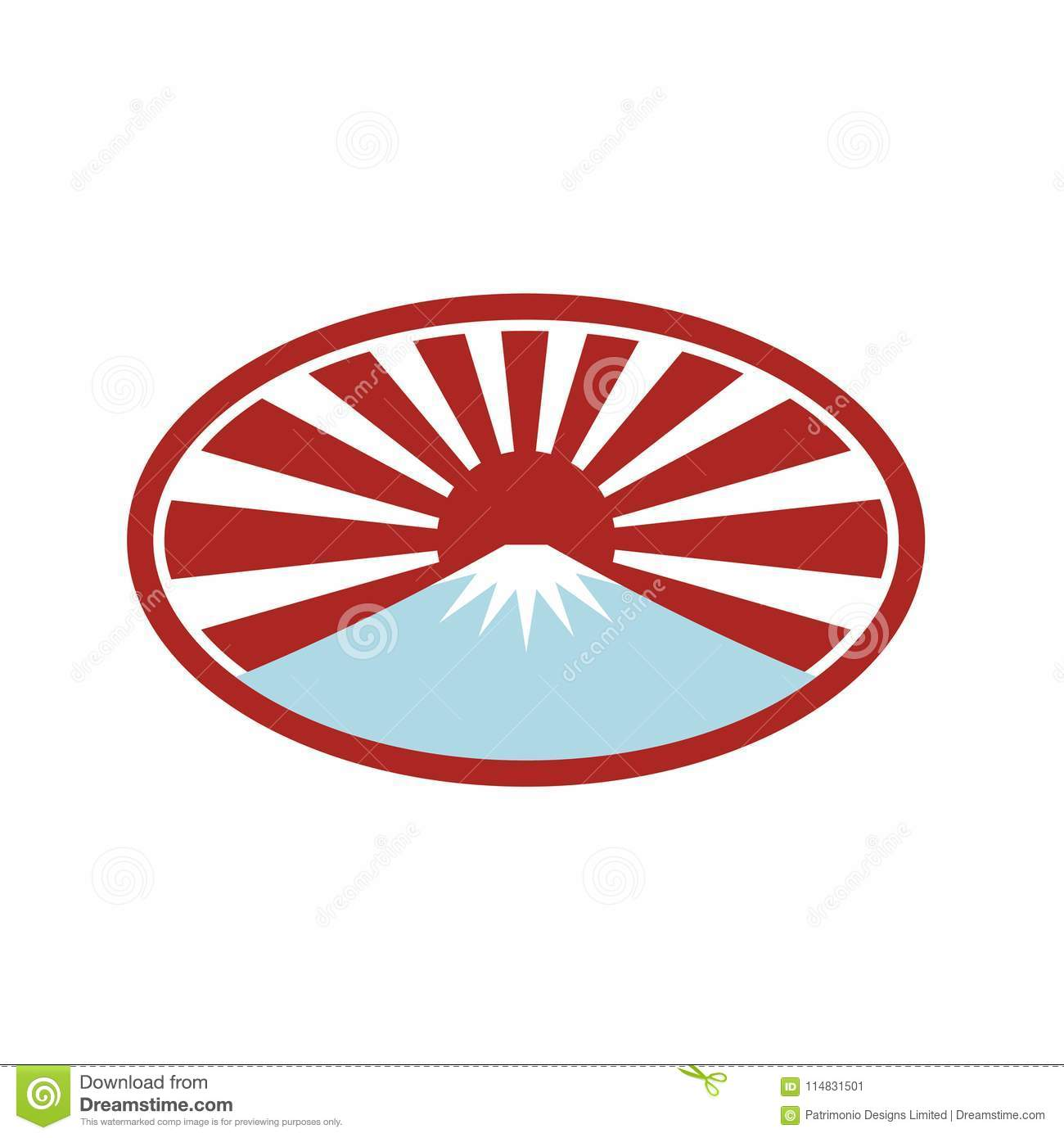 rising sun with snow capped mountain icon stock vector rh dreamstime com  rising sun flag vector free