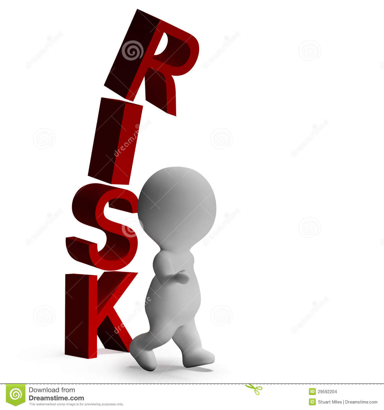 Risk And 3d Character Showing Peril And Caution Stock