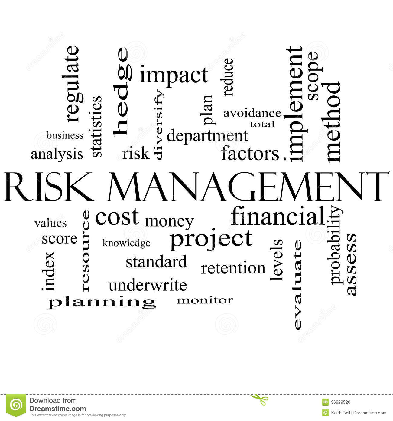Risk Management Word Cloud Concept in black and white