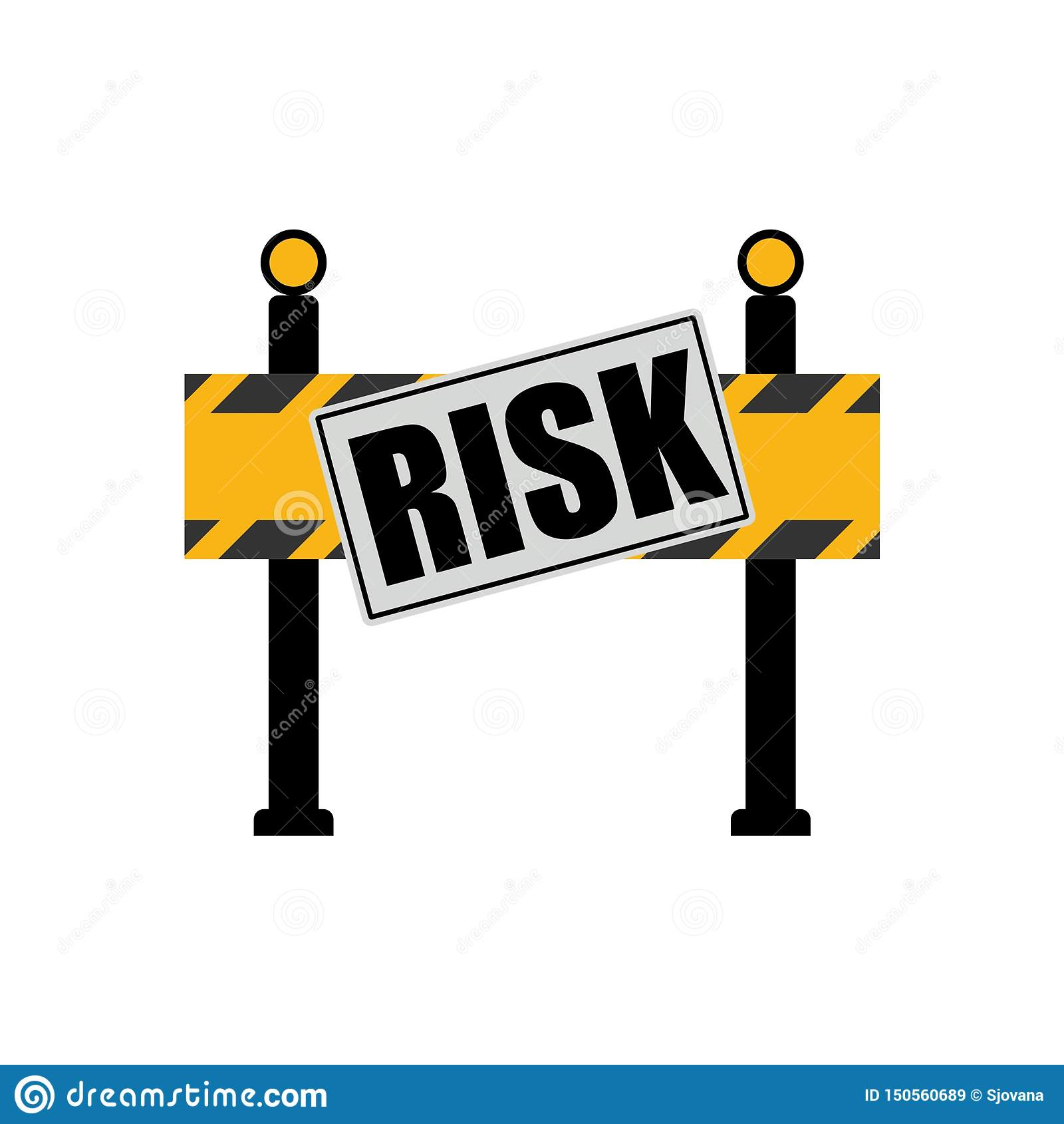 Risk word on road sign, road barrier concept