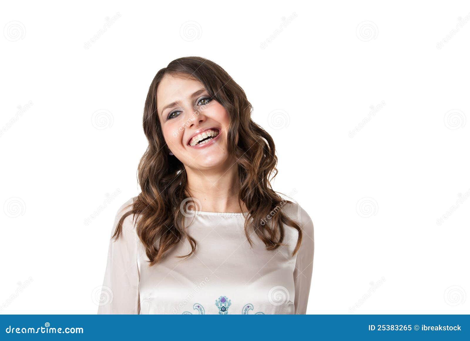 Riso bonito do brunette