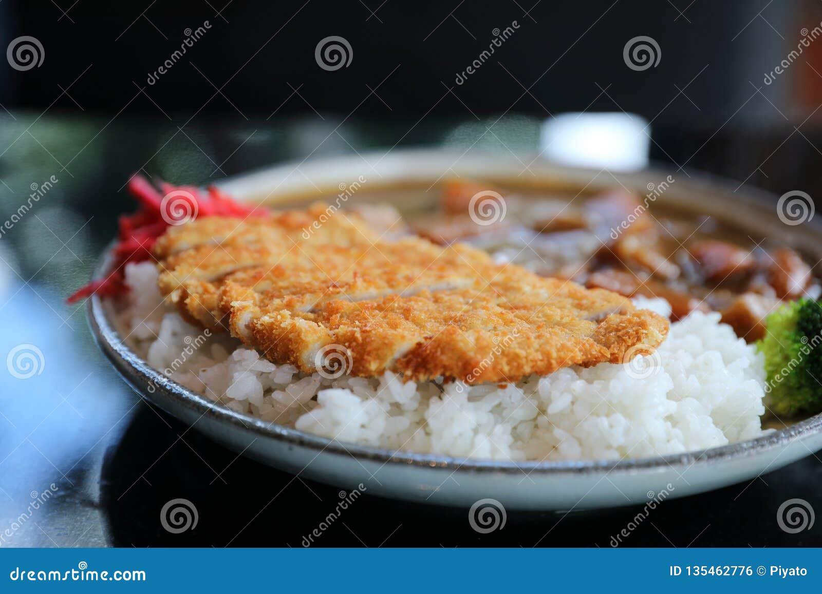 Riso di curry con l alimento giapponese infornato della carne di maiale