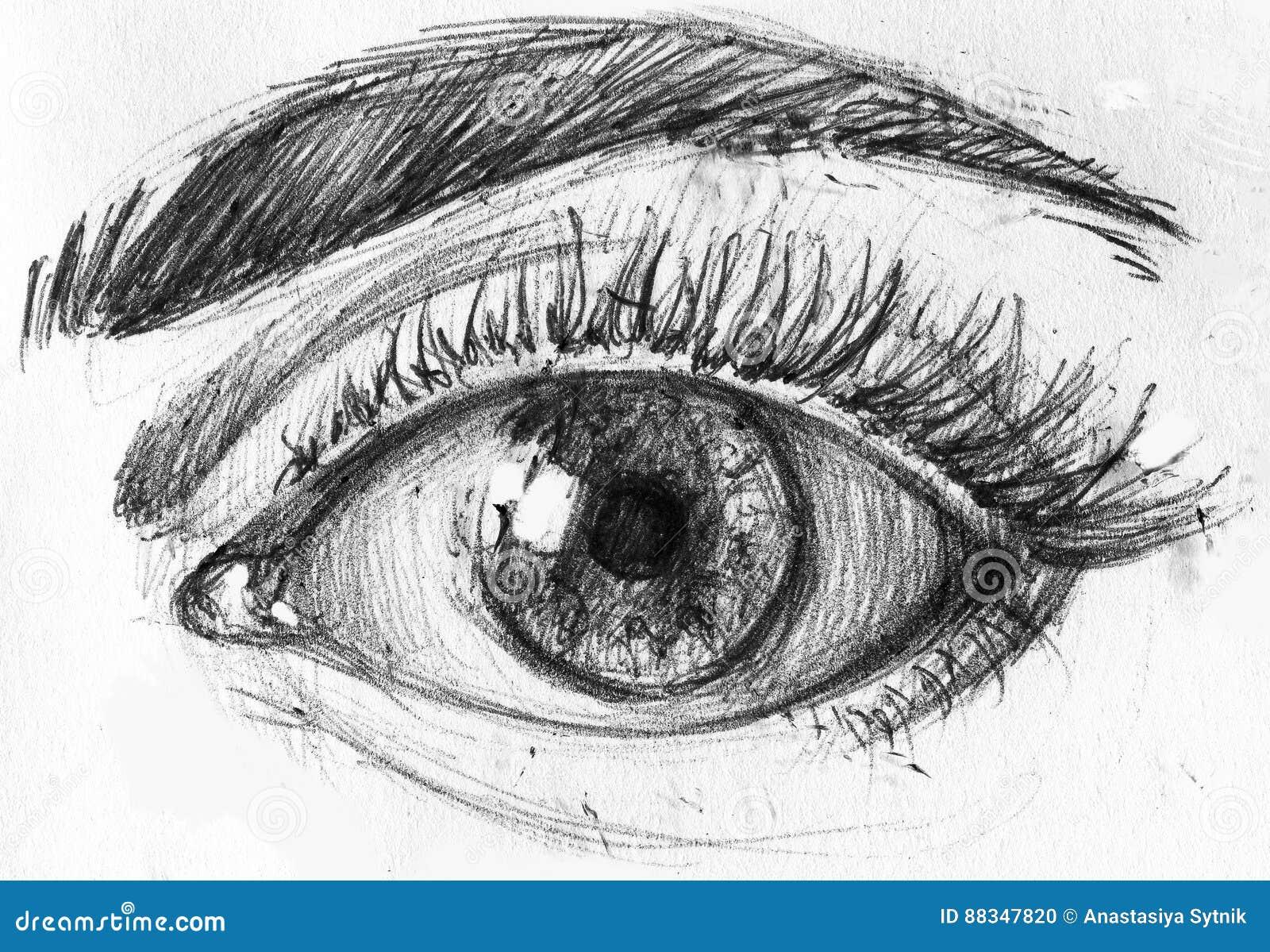 Popolare Risoluzione Di Altezza Disegno In Bianco E Nero Dell'occhio E Del  AO44