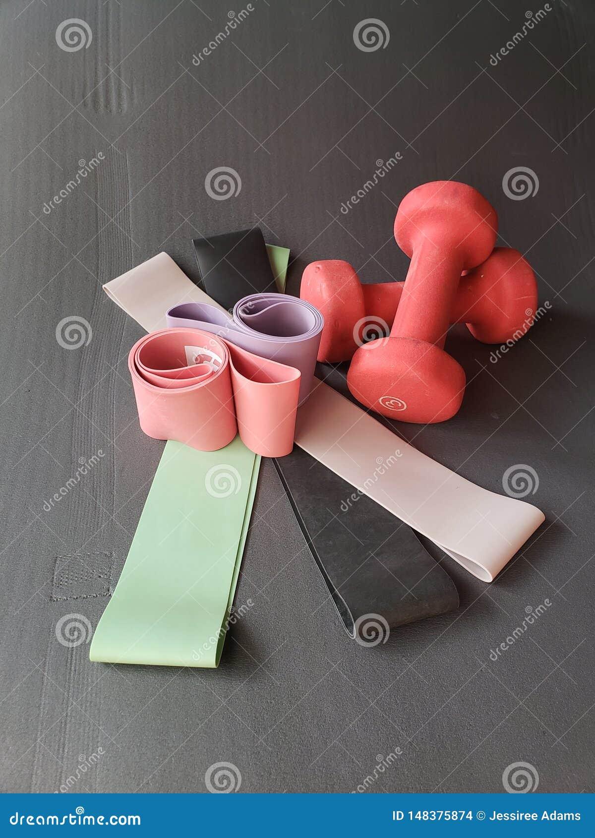Risolva le bande ed i pesi leggeri sulla stuoia di esercizio