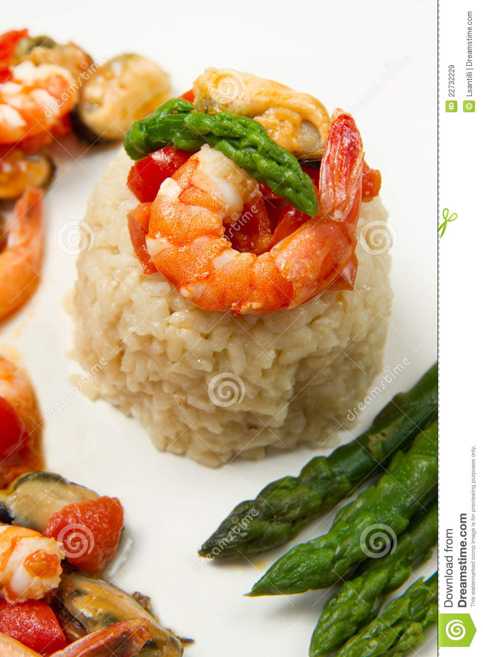 Risotto With Shrimp And Asparagus Royalty Free Stock ...
