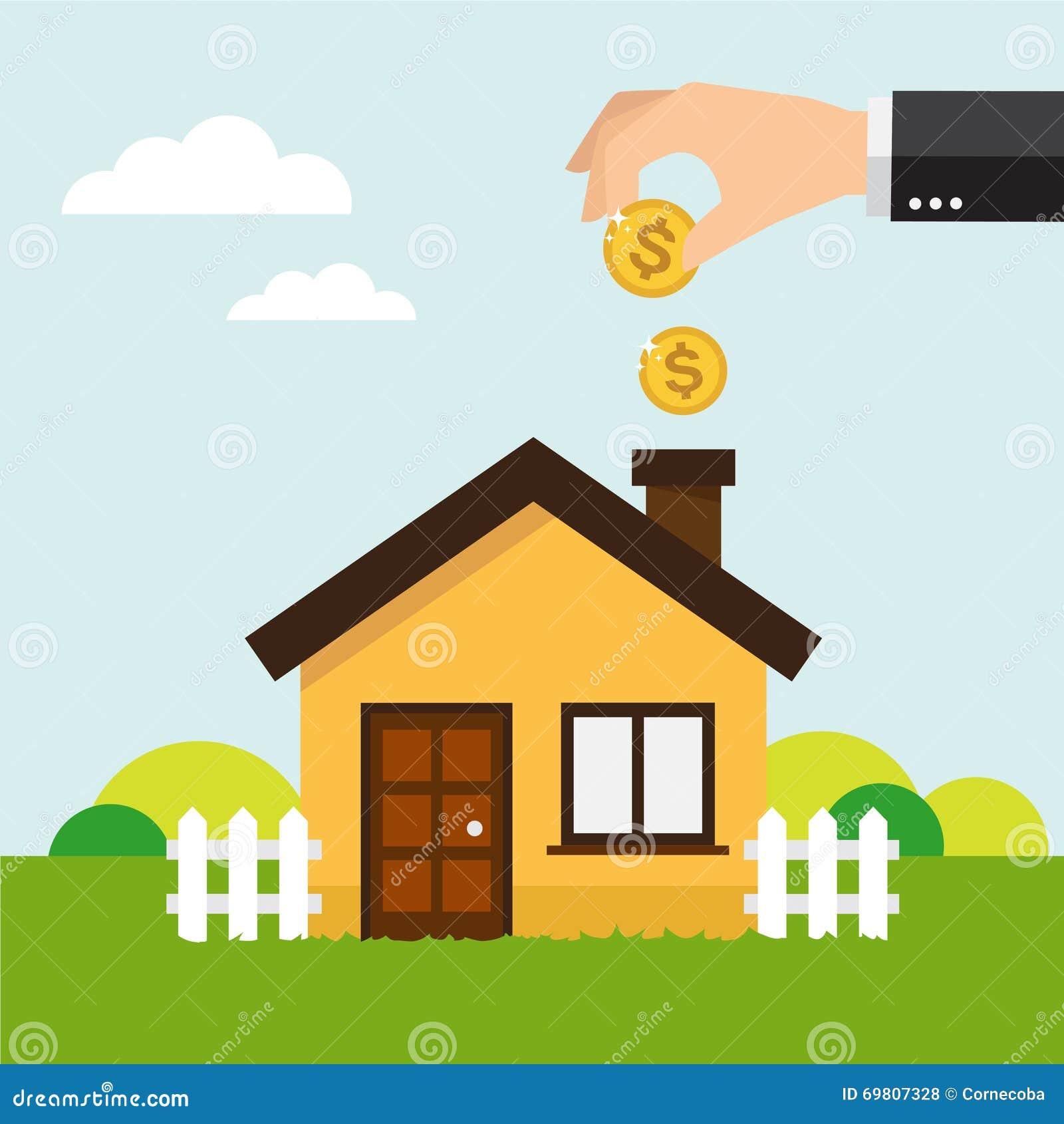 Risparmi i soldi per la casa illustrazione vettoriale - Soldi contanti a casa ...