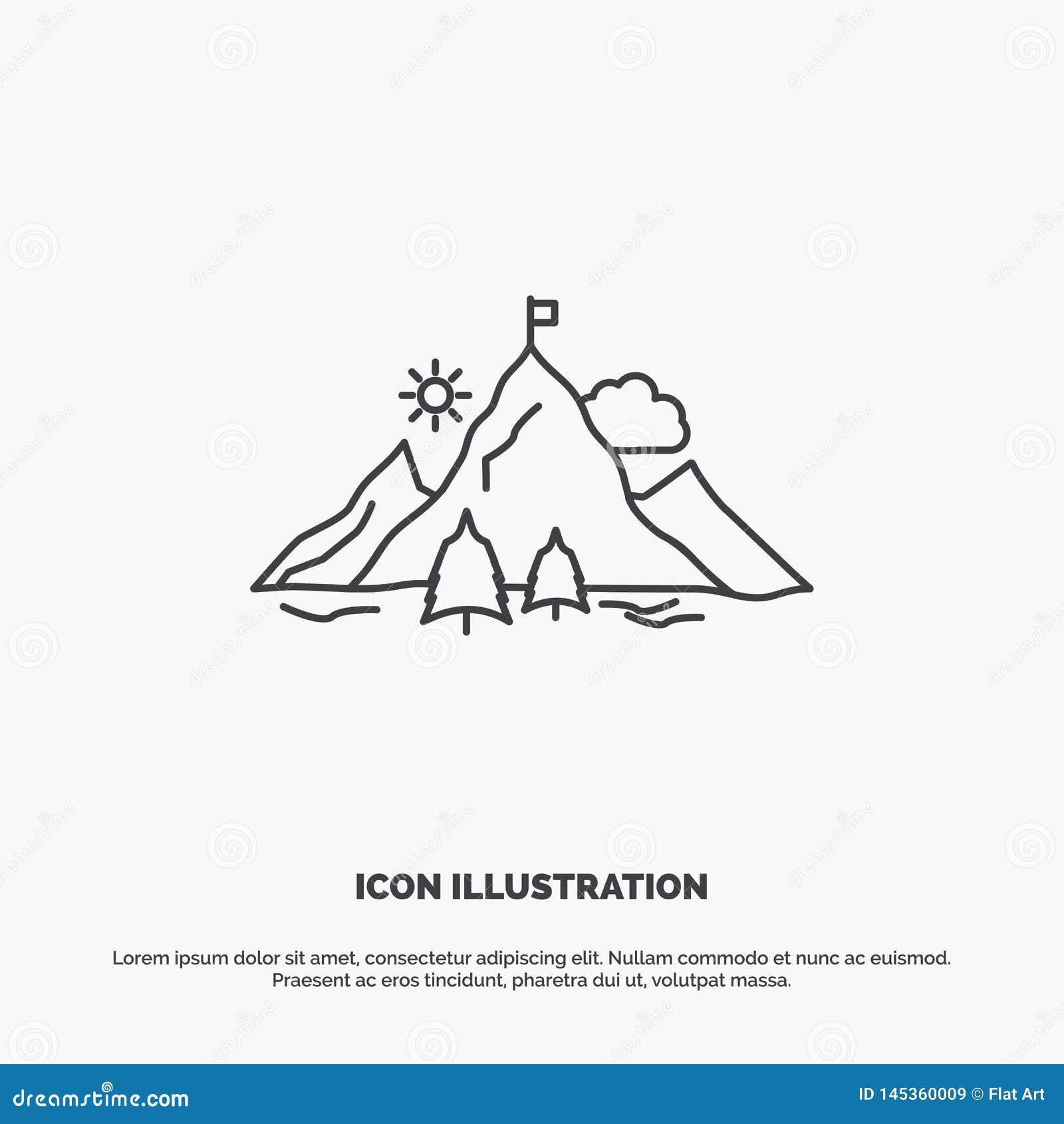 Risultato, bandiera, missione, montagna, icona di successo Linea simbolo grigio di vettore per UI e UX, sito Web o applicazione m