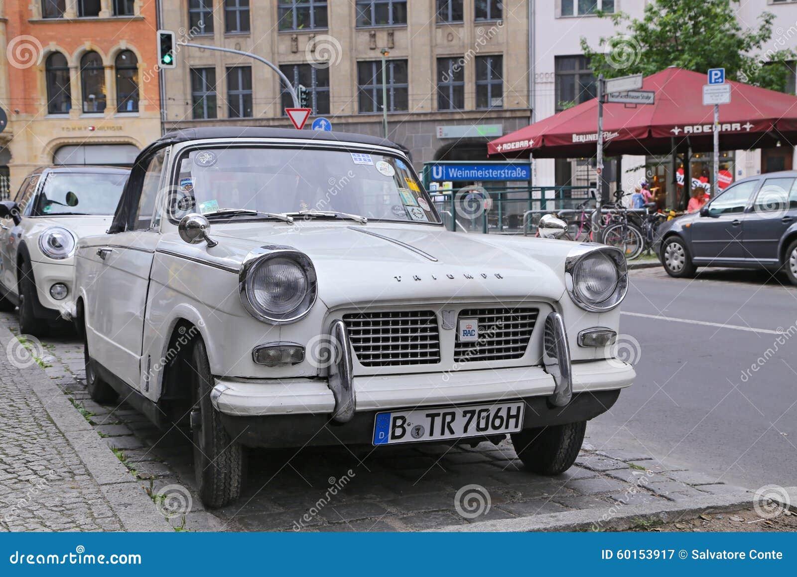 Ritish retro car Triumph in the Mitte district