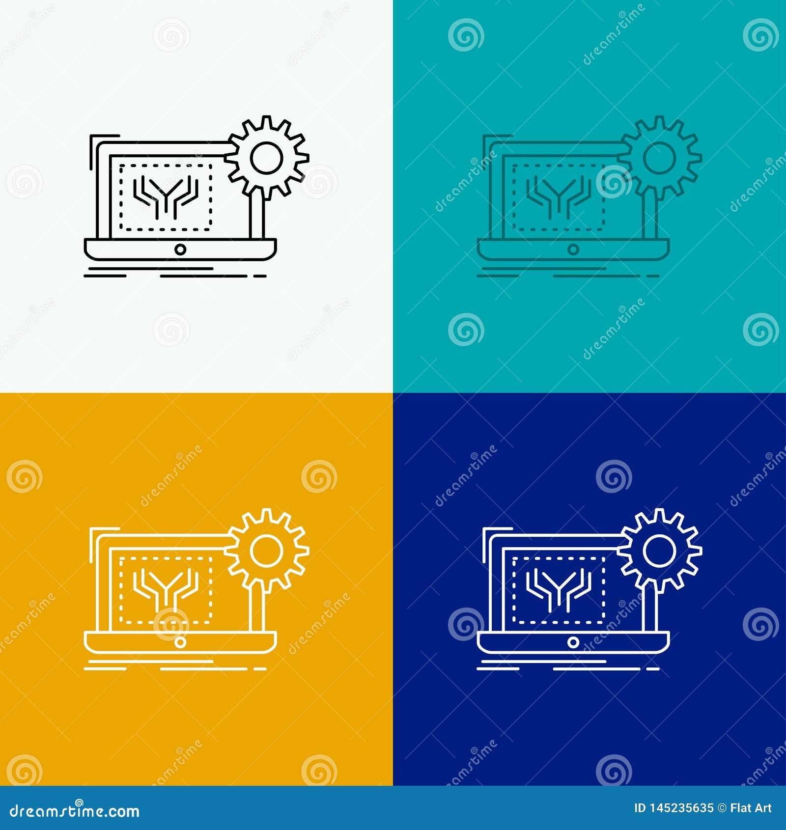 Ritning strömkrets, elektronik, teknik, maskinvarusymbol över olik bakgrund Linje stildesign som planl?ggs f?r reng?ringsduk och