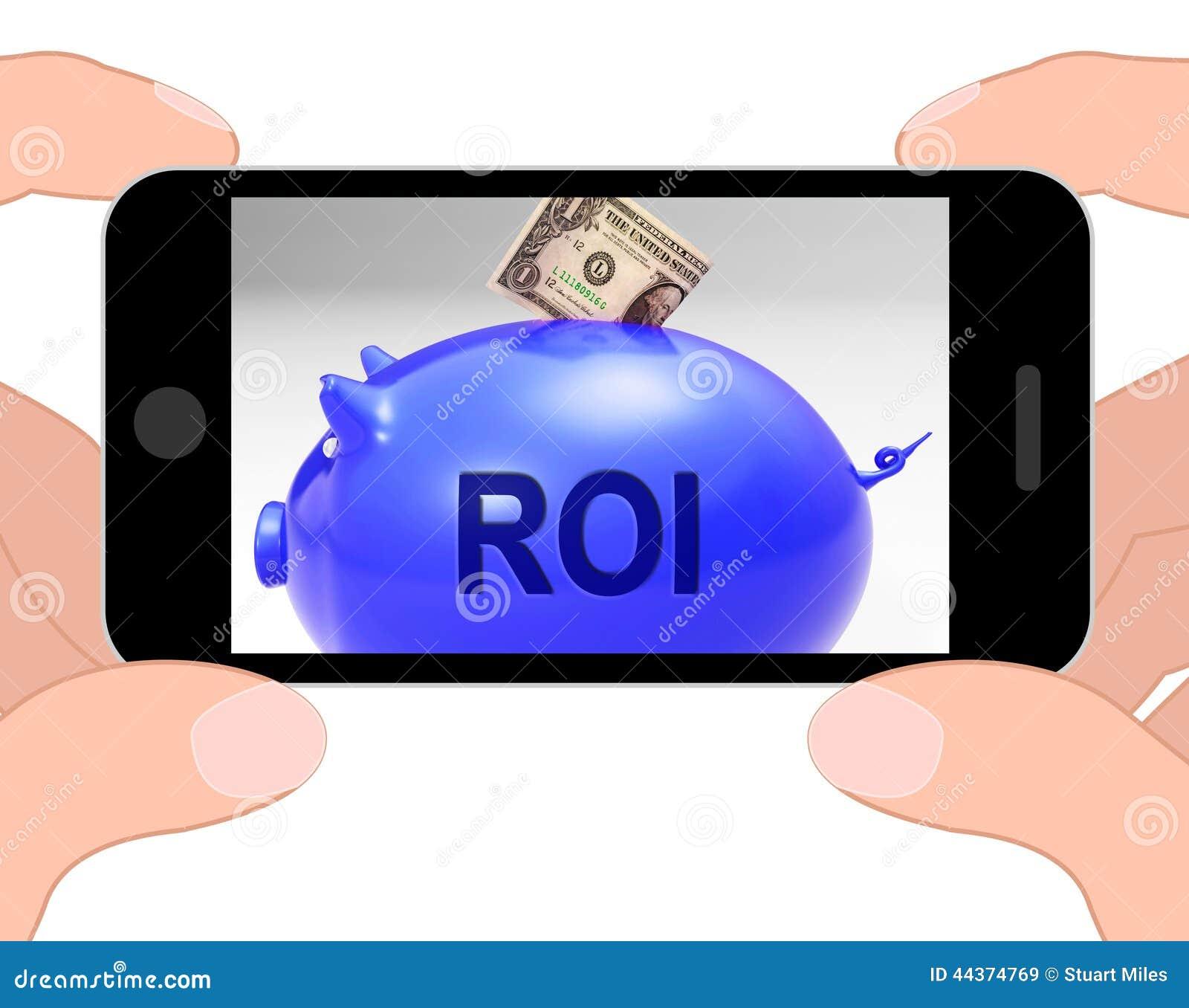 Ritorno e reddito di ROI Piggy Bank Displays Investors