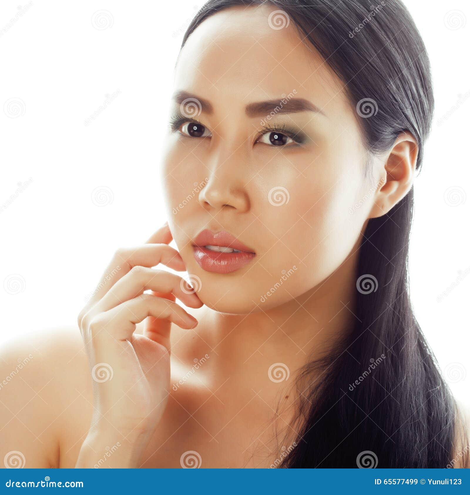 Ritratto asiatico del primo piano del fronte di bellezza della donna Bello modello femminile asiatico della corsa/caucasico cines