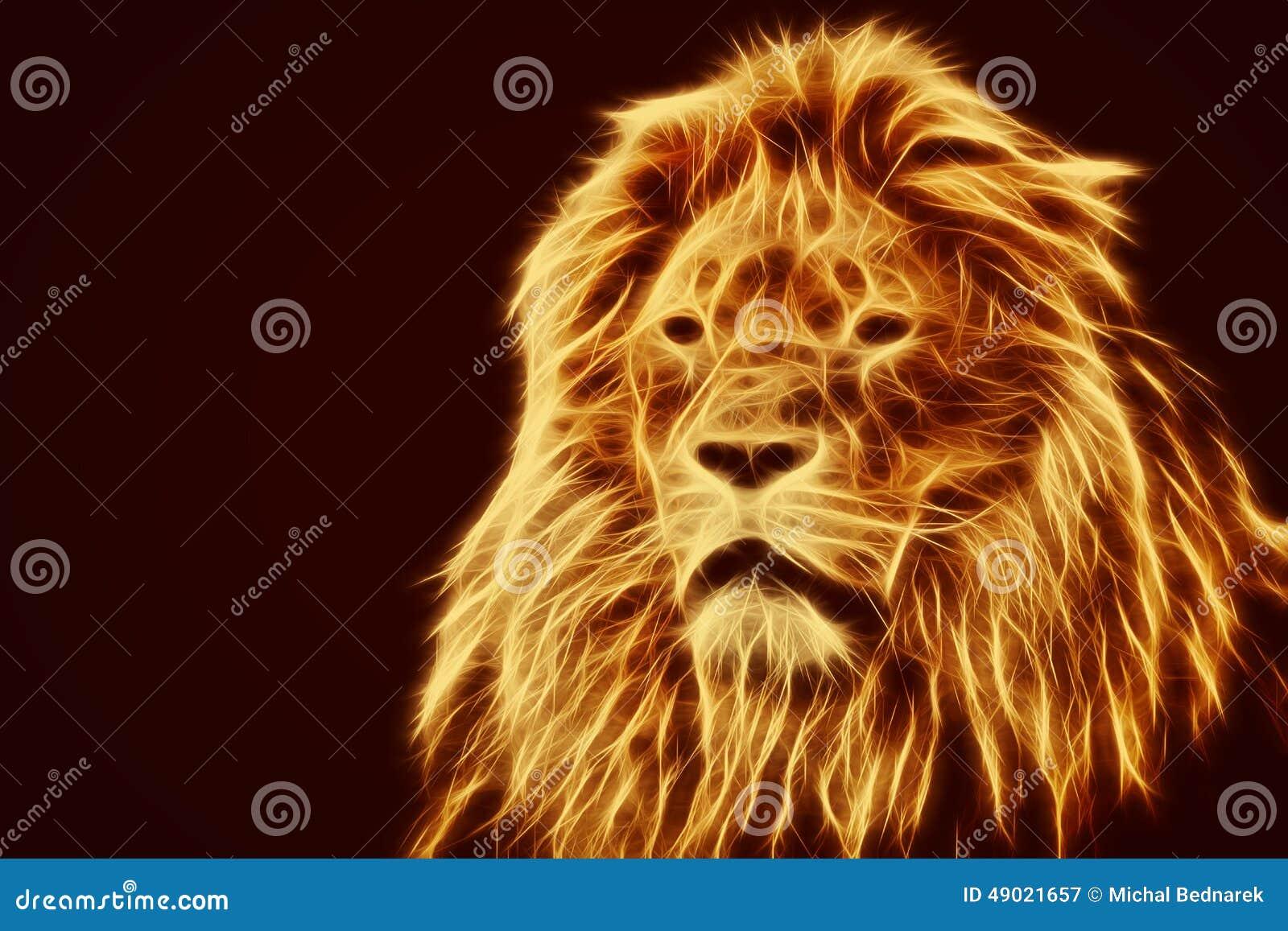 Ritratto astratto e artistico del leone Il fuoco fiammeggia la pelliccia