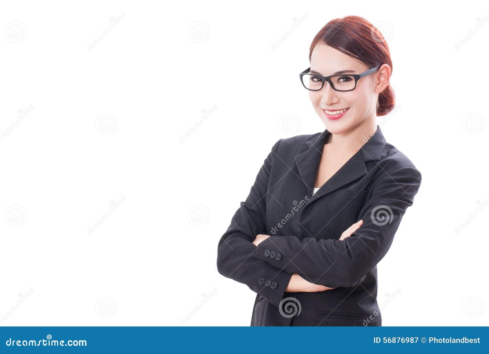 Ritratto dei vetri d uso della giovane donna di affari