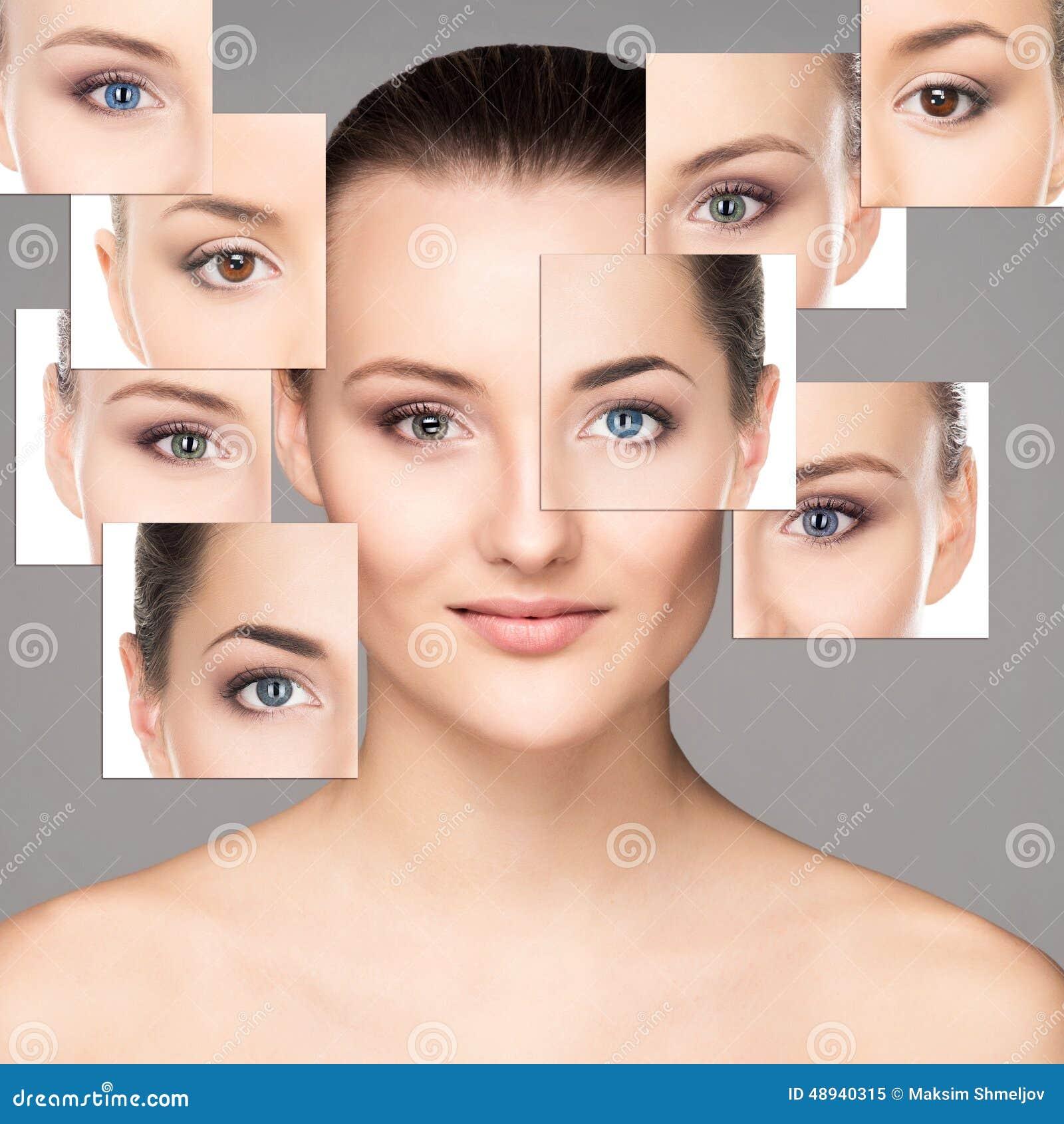 Ritratto del collage di bella e ragazza sensuale su grey