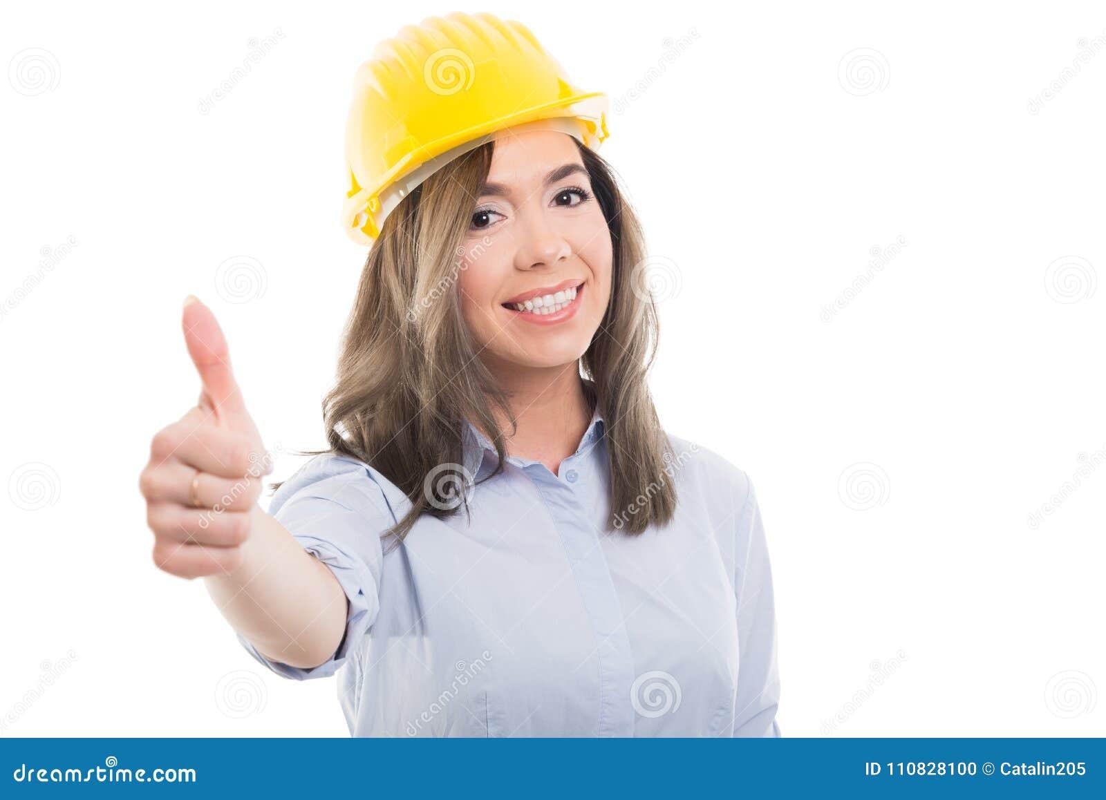 Ritratto del costruttore femminile che mostra come il gesto
