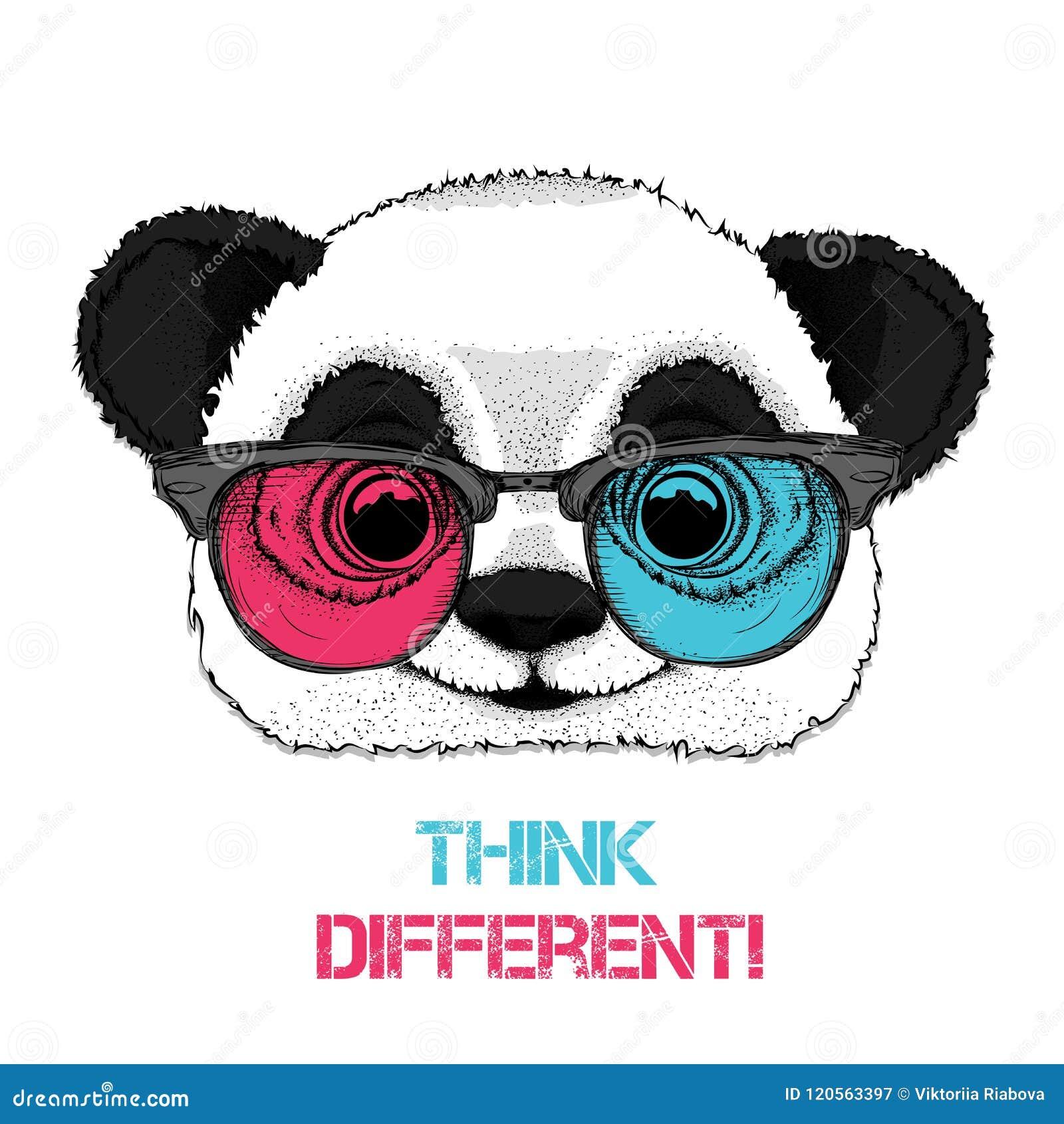 Ritratto del panda nei vetri colorati Pensi differente Illustrazione di vettore