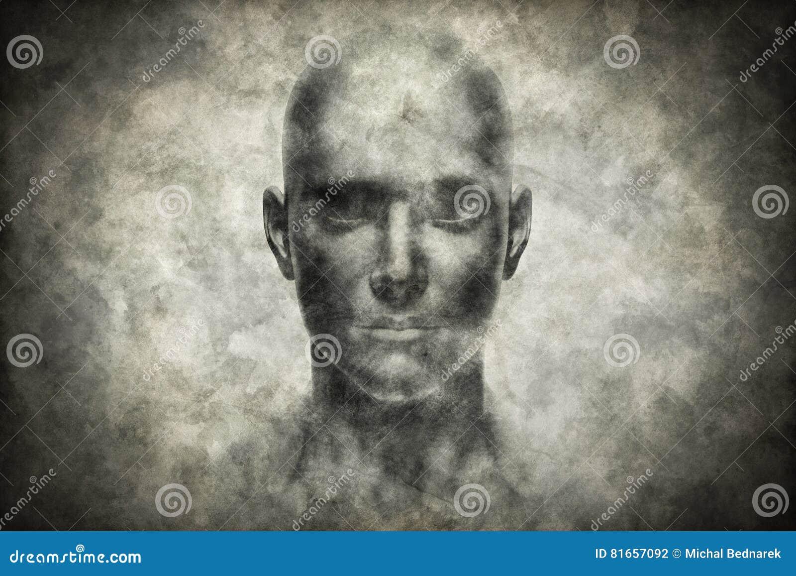 Ritratto del viso umano sulla carta di lerciume