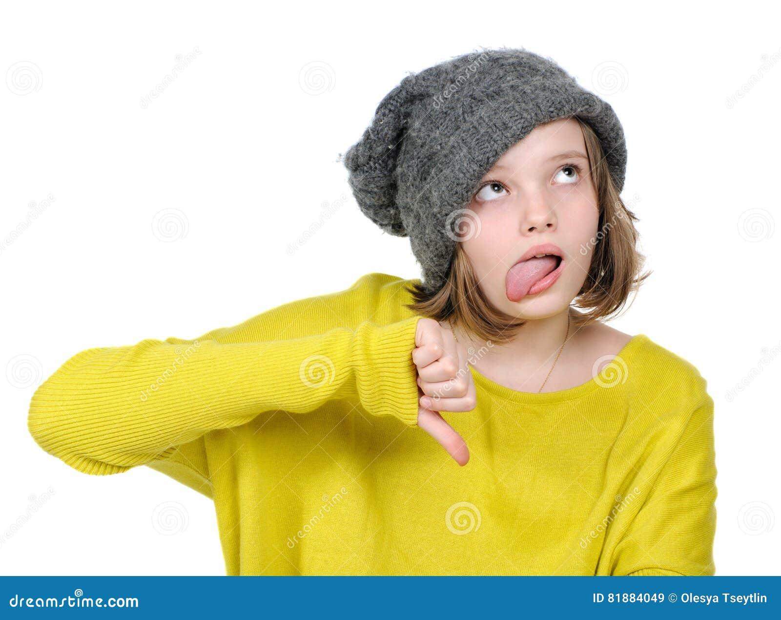 Ritratto dell adolescente infelice che mostra gesto