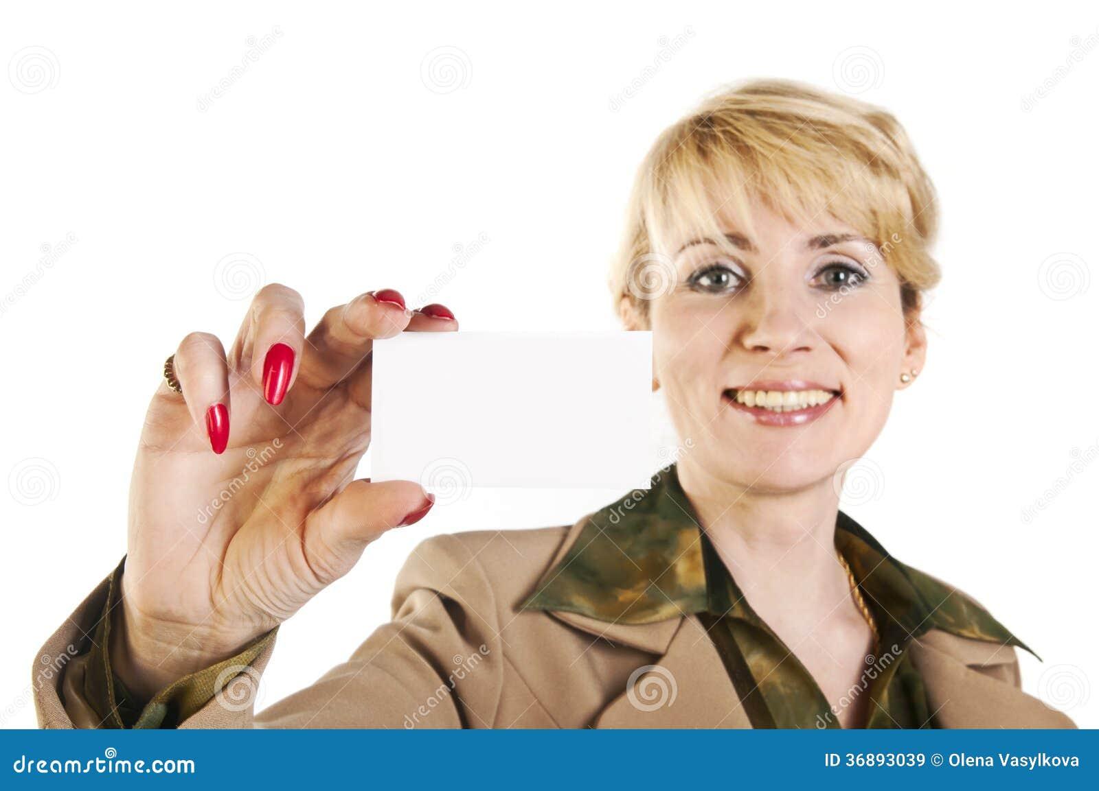 Download Ritratto Della Donna Di Affari Che Dà Biglietto Da Visita In Bianco Immagine Stock - Immagine di sopra, maschio: 36893039