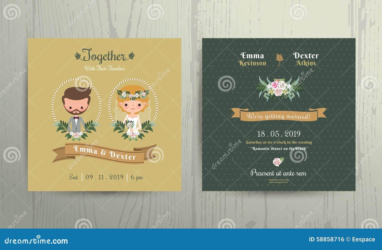 Ritratto della sposa e dello sposo del fumetto della carta dell invito di nozze