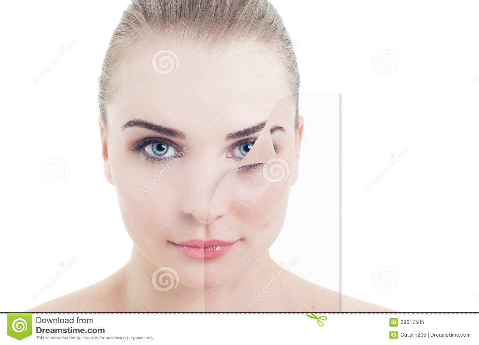 Ritratto di bella femmina con il problema e la pelle perfetta