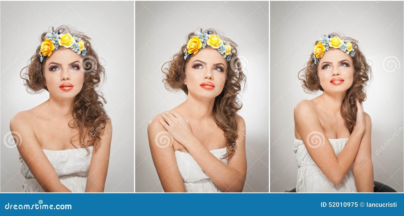 Ritratto di bella ragazza in studio con le rose gialle nei suoi capelli e spalle nude Giovane donna sexy con trucco professionale