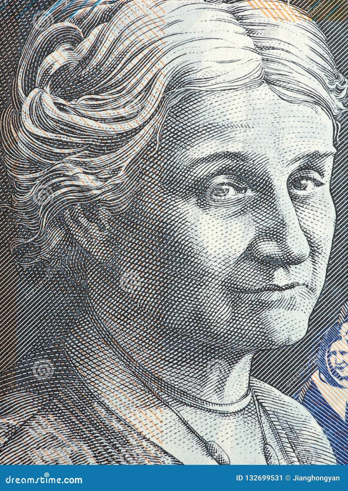 Ritratto di Edith Cowan - primo piano della banconota in dollari dell australiano 50