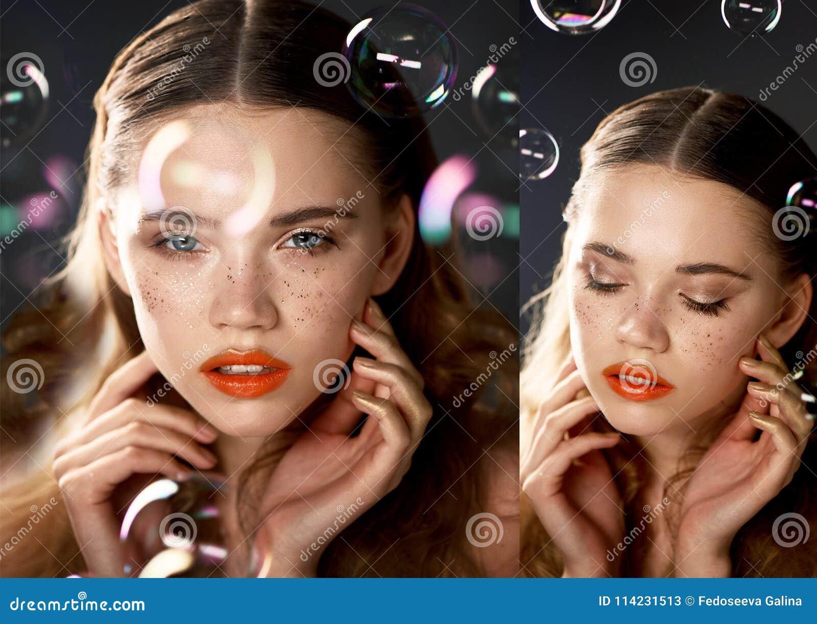 Ritratto di giovane bella ragazza in studio, con trucco professionale Fucilazione di bellezza La bellezza delle bolle di sapone E