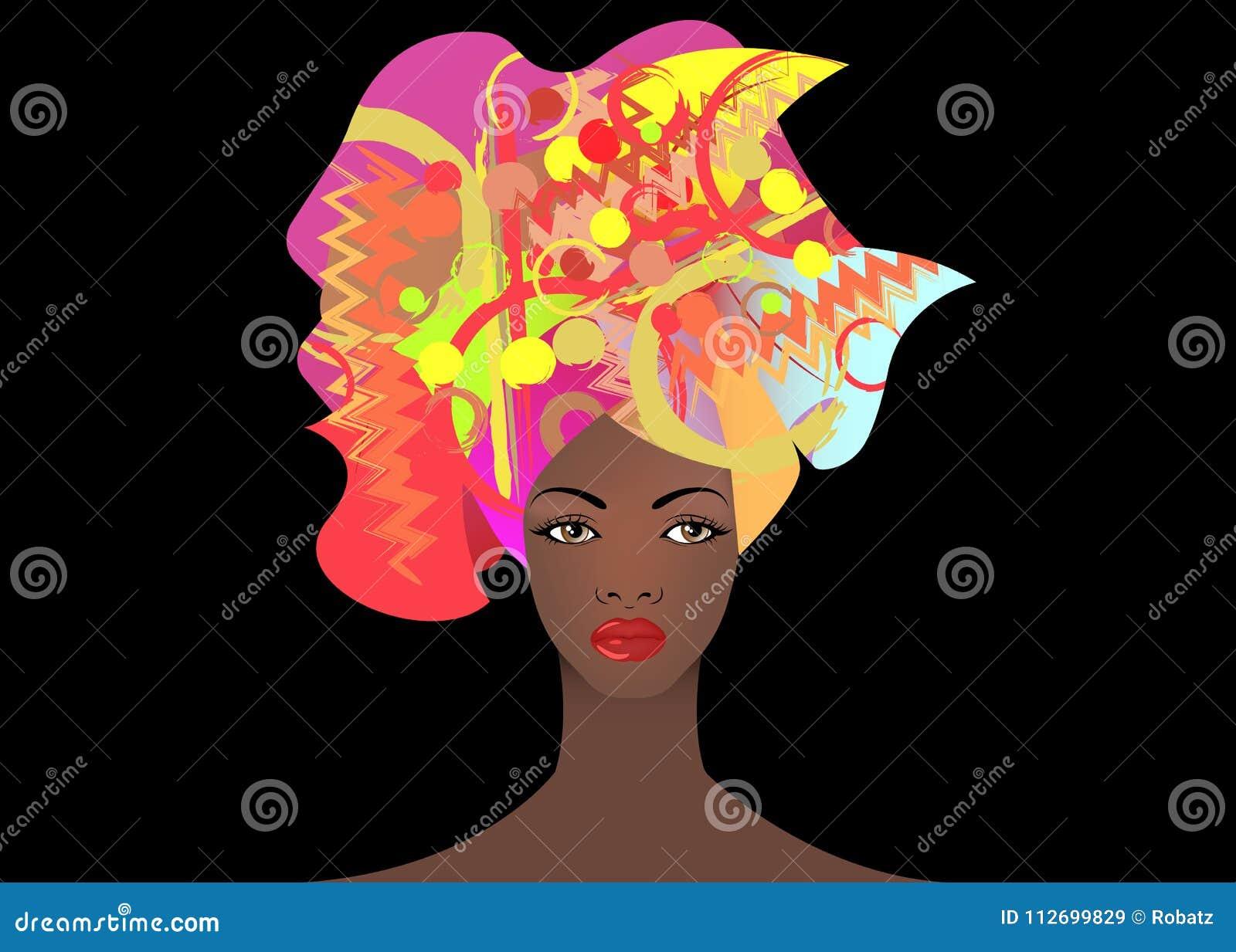 Ritratto di giovane donna africana in un turbante variopinto Avvolga il modo di afro, Ankara, Kente, il kitenge, vestiti africani