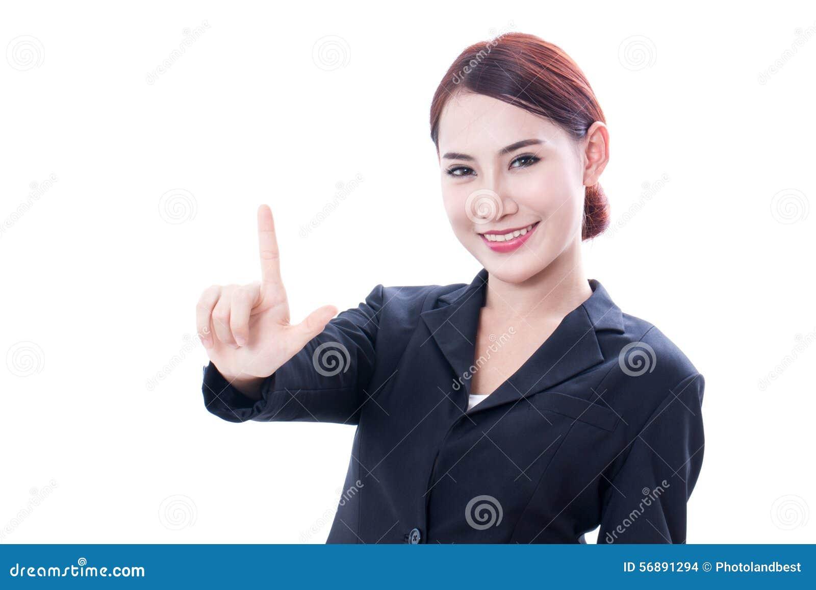 Ritratto di giovane donna di affari che indica su