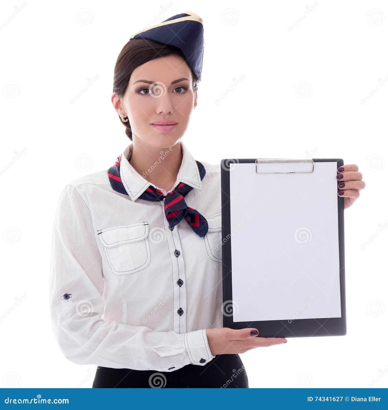 Ritratto di giovane hostess con la lavagna per appunti in bianco isolata su wh