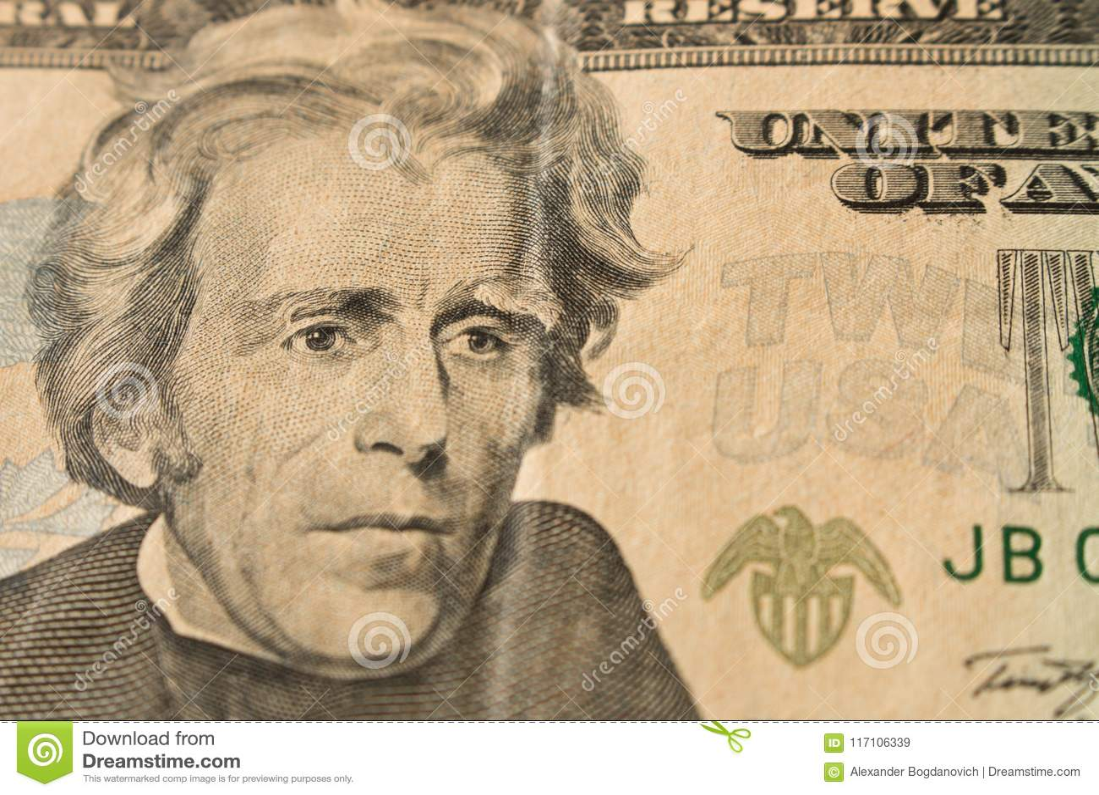 Ritratto di presidente Andrew Jackson sulla banconota in dollari 20 U vicina