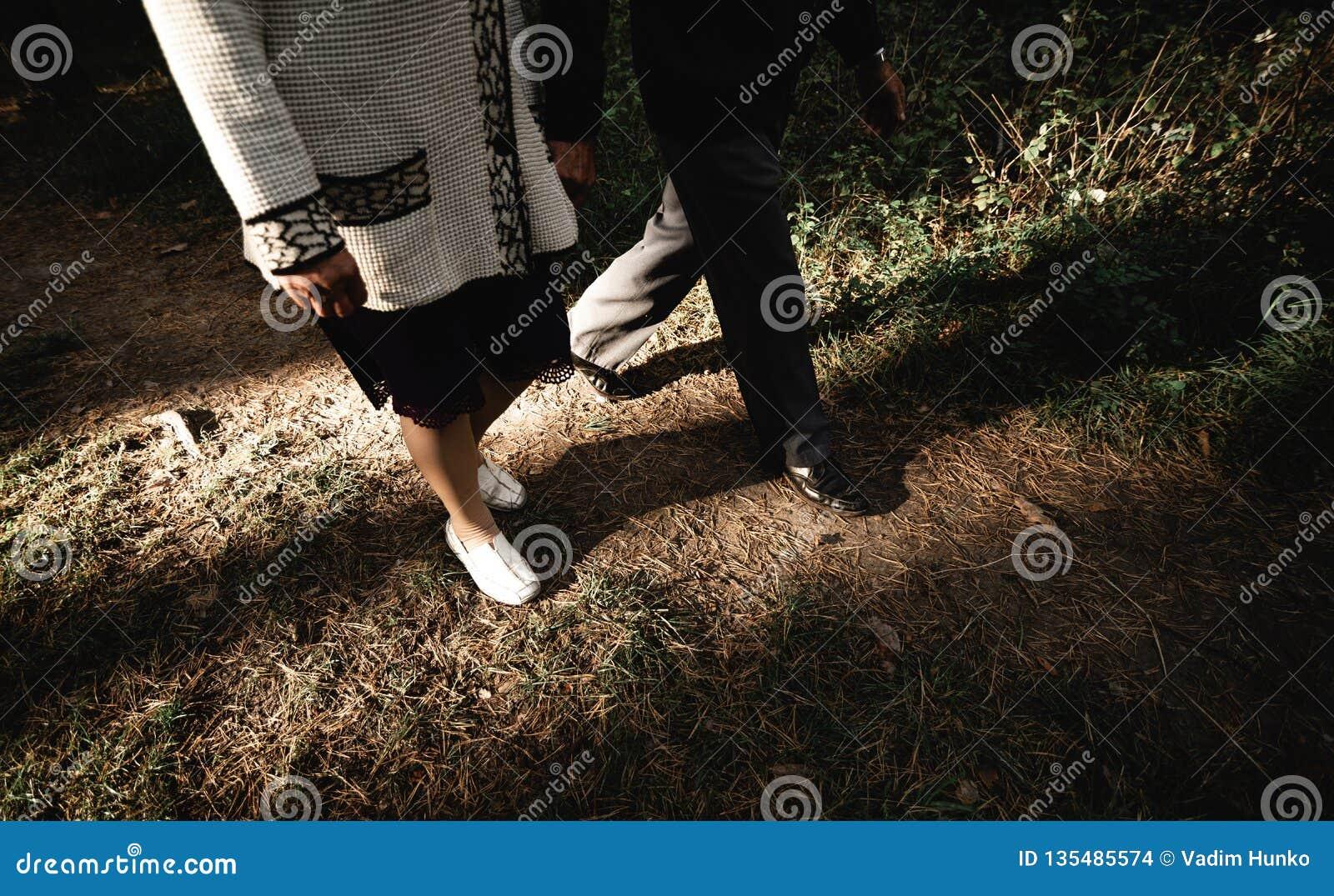 Ritratto di una coppia senior felice in parco Immagine orizzontale